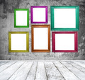 Empty room with multicolored photo frames - PhotoDune Item for Sale