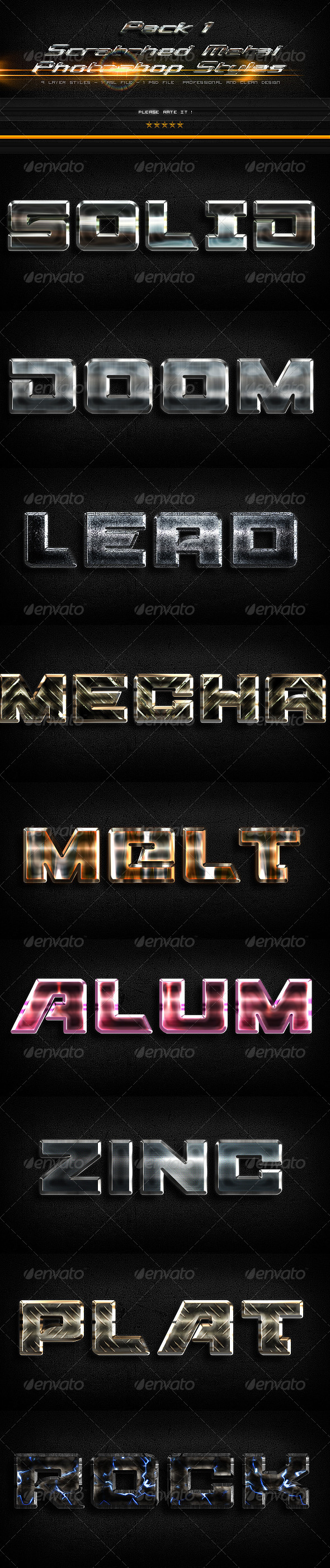 Scratched Metal Photoshop Styles-1 - Text Effects Actions
