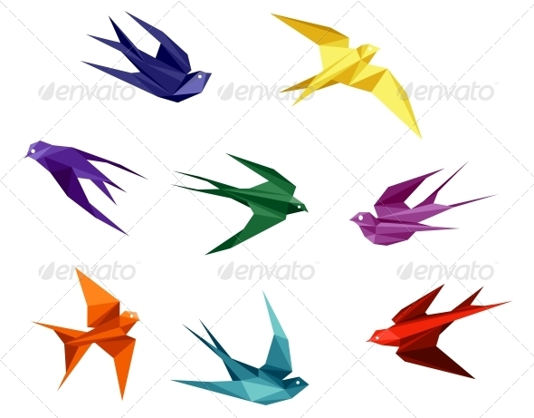 GraphicRiver Swallows in Origami Style 3958900
