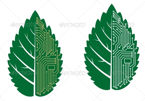 GraphicRiver Green Leaf with Computer and Motherboard Elements 3958902