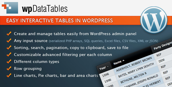 CodeCanyon wpDataTables easy tables in WordPress 3958969