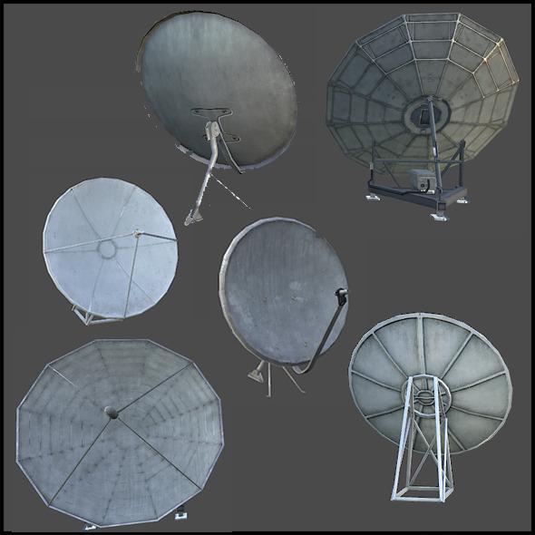 3DOcean Satellite Dish Antenna Set 3959032
