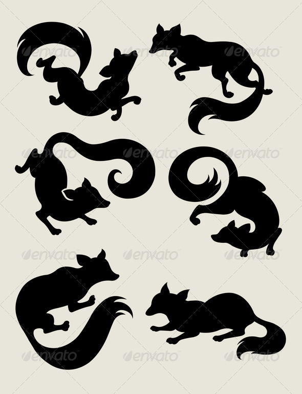Fox Silhouette Symbols - Animals Characters