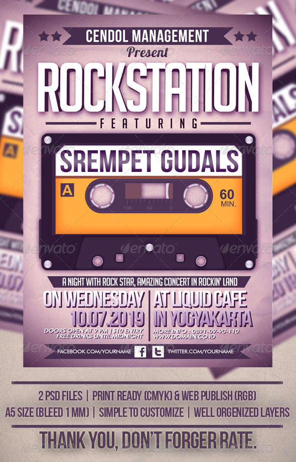 GraphicRiver Rock Station Music Flyer Template 3783971