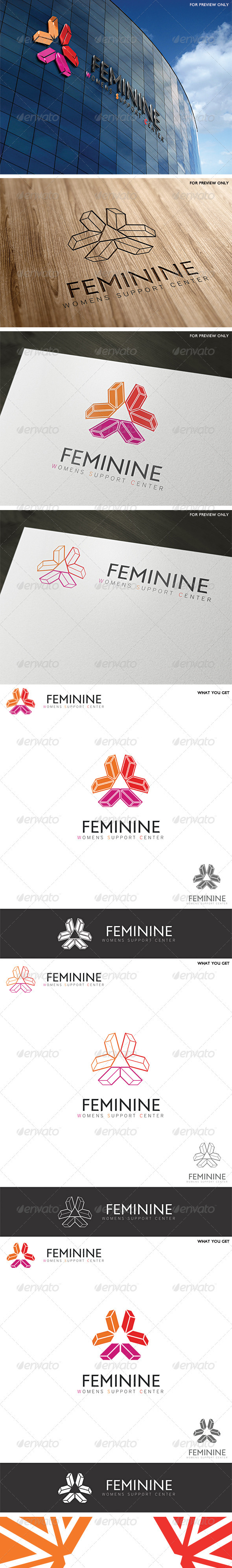 Feminine Center Logo Template - Vector Abstract