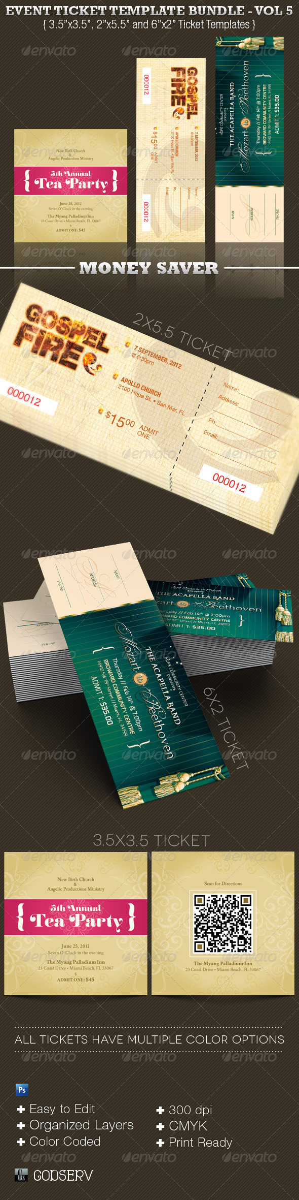 event ticket template bundle vol 5 graphicriver. Black Bedroom Furniture Sets. Home Design Ideas