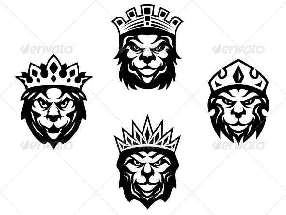 GraphicRiver Heraldry Lions with Crowns 3959447