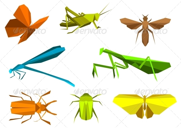 GraphicRiver Insects in Origami Paper Elements 3959708