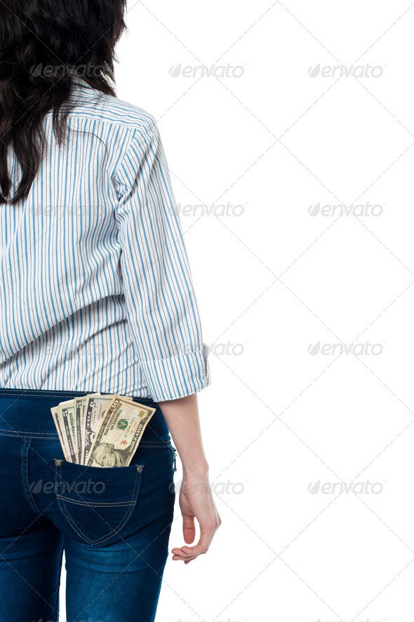 PhotoDune Rear view of a girl with dollars in her back pocket 3960165