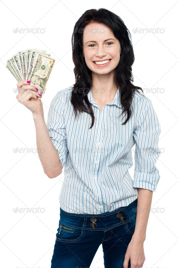 PhotoDune Attractive young woman holding money 3960180