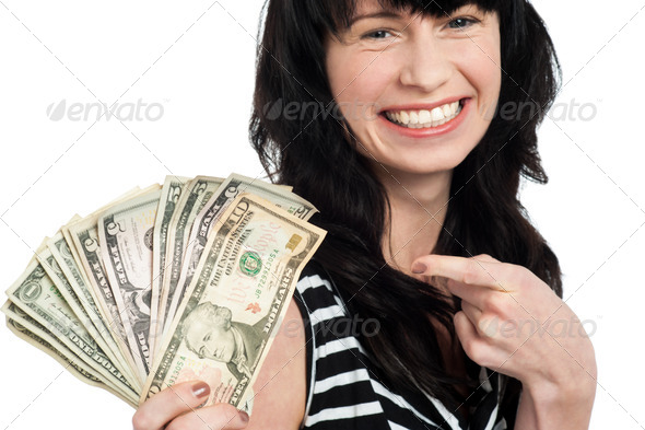 PhotoDune Smiling woman with cash 3960181