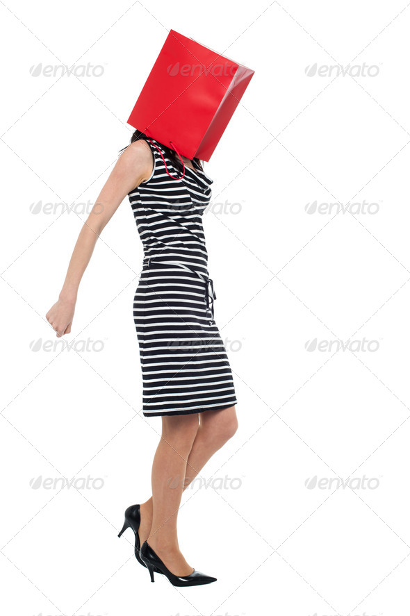 PhotoDune Woman covering her face with shopping bag 3960189