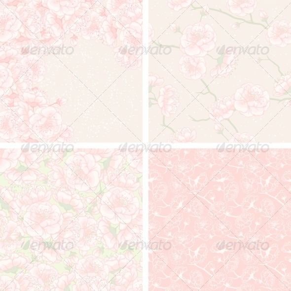 GraphicRiver Cherry Blossom Patterns and Backgrounds 3960594
