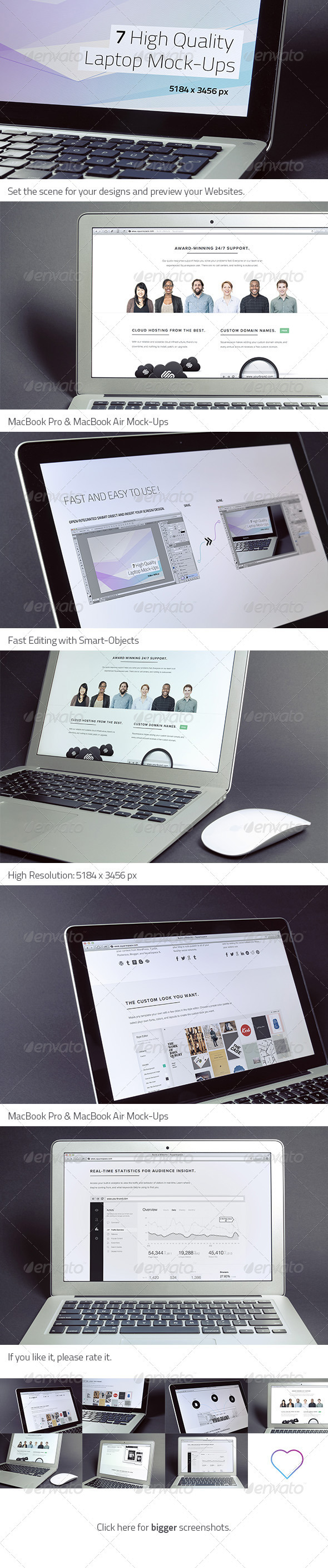 GraphicRiver 7 High Quality Laptop Mock-Ups 3962299
