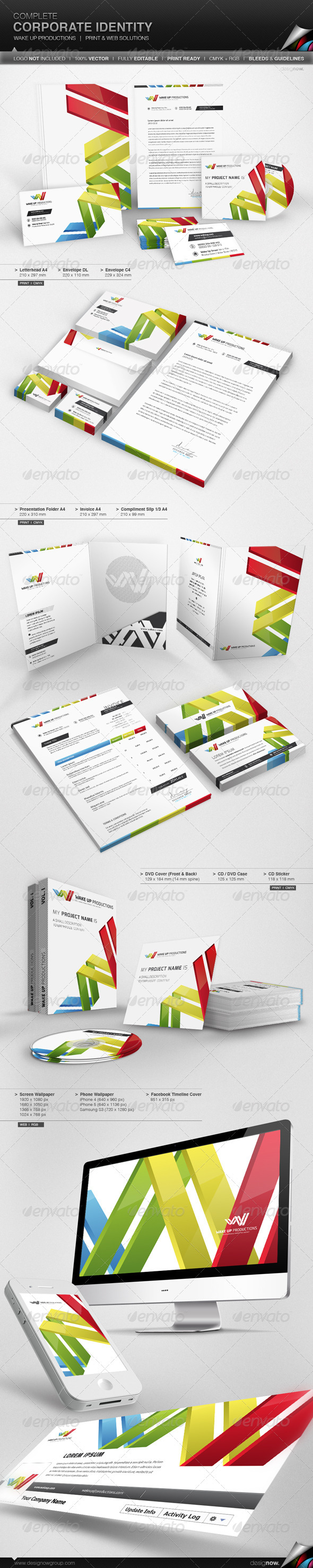 Corporate Identity - Wake Up - Stationery Print Templates