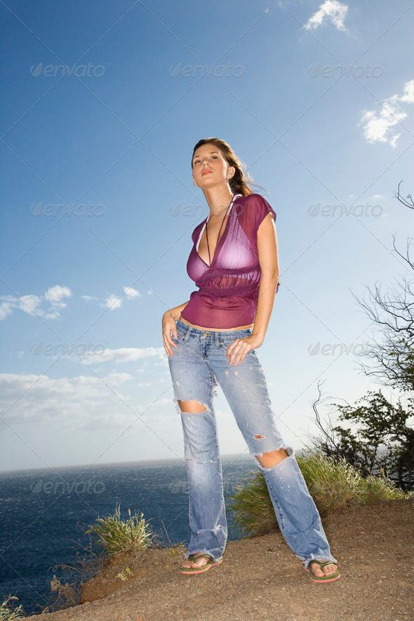Woman on Maui coast - Stock Photo - Images