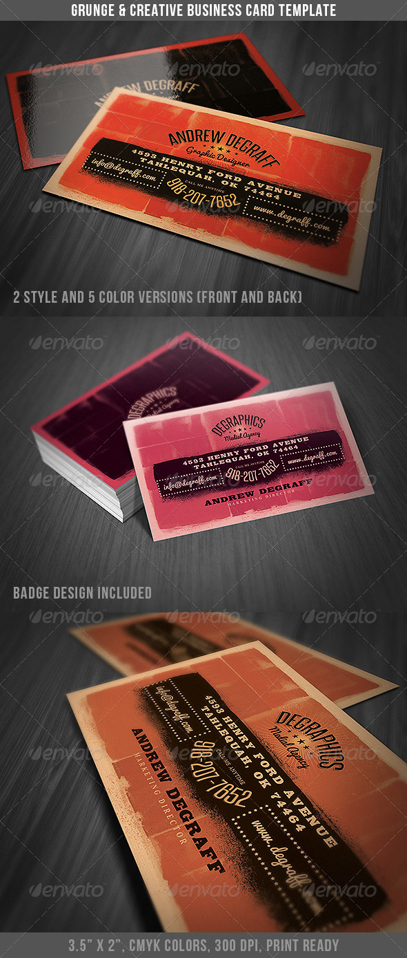 GraphicRiver Grunge Business Card 3962561