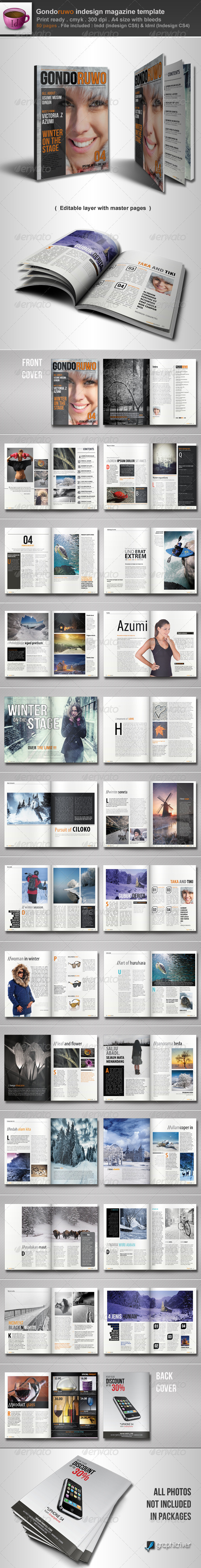 Gondoruwo Indesign Magazine Template - Magazines Print Templates