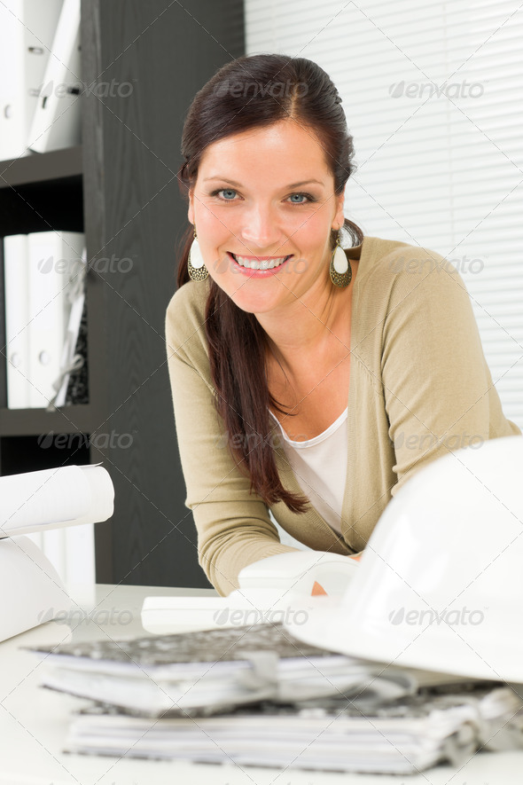 Relax professional architect woman smiling - Stock Photo - Images
