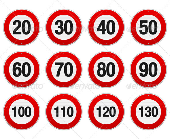 GraphicRiver Speed Limit Sign Set 3963649