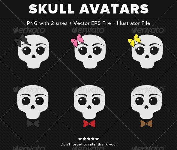 GraphicRiver Skull Avatars Vectors 3964184