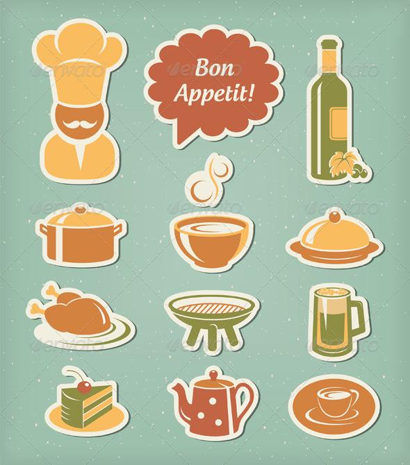 GraphicRiver Restaurant Menu Icons Set 3964269