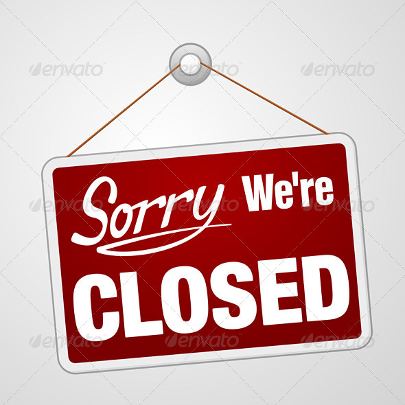 GraphicRiver We Are Closed Sign 3964350