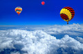 Hot air balloon on the cloud