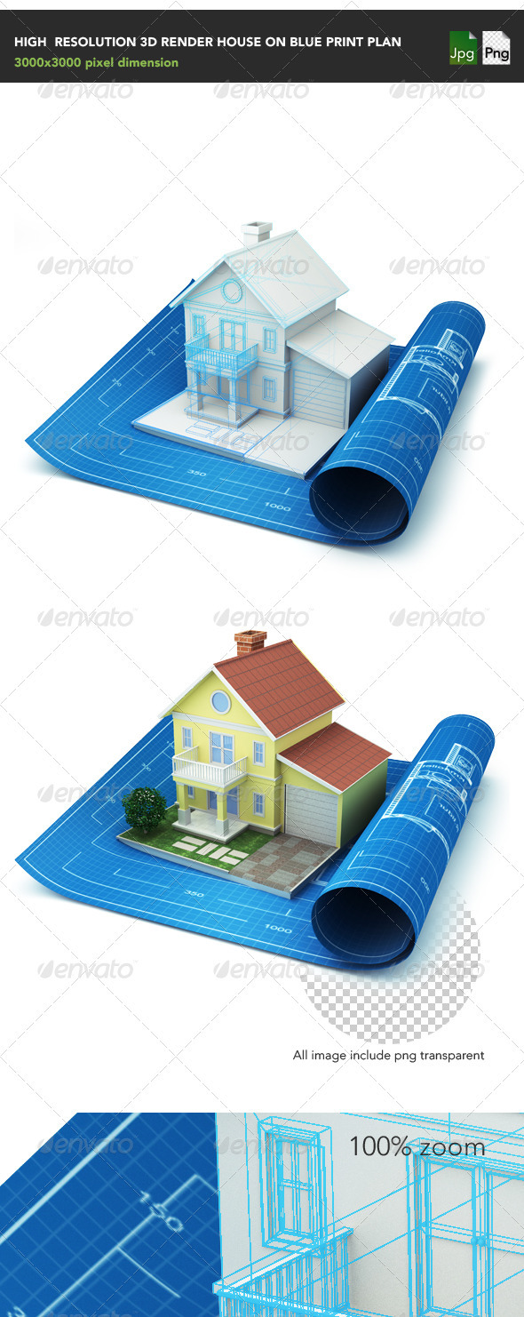 GraphicRiver House on blue print 3964942