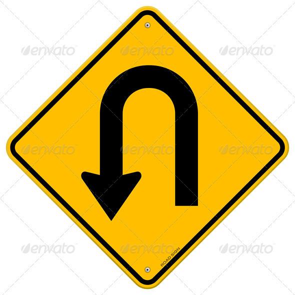 GraphicRiver U-Turn Roadsign 3965383