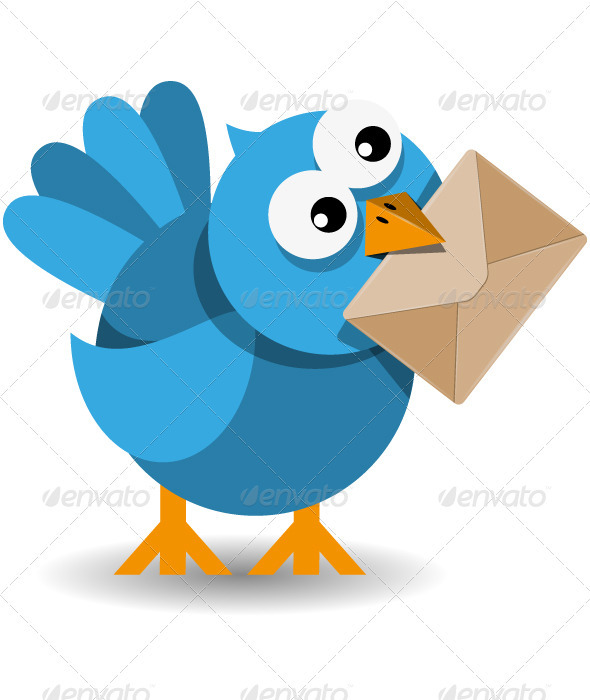 GraphicRiver Blue Bird with a Paper Envelope 3966342