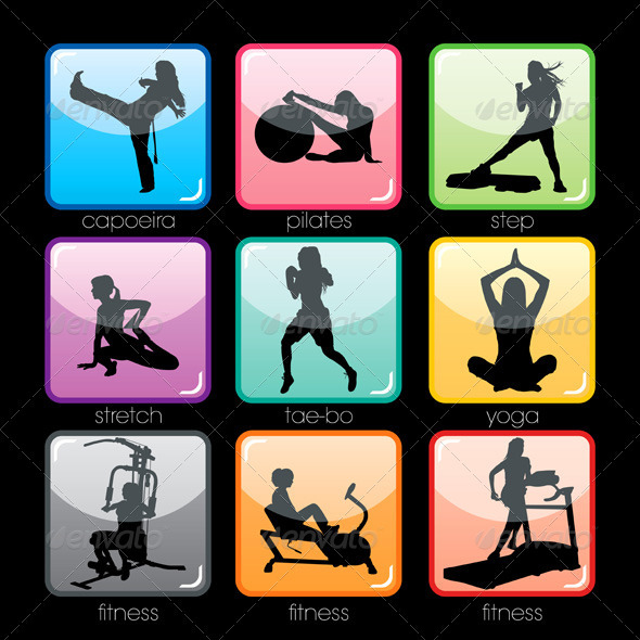 GraphicRiver Fitness Buttons Set 428152