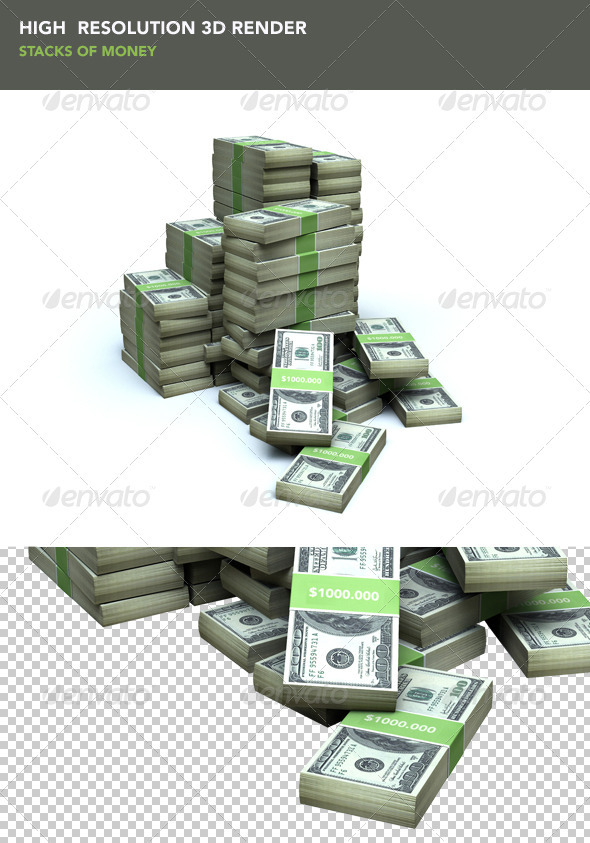 Stacks of Money - Objects 3D Renders