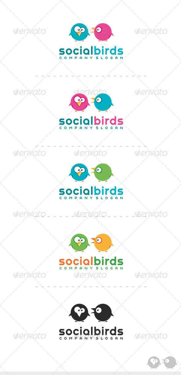 Social Birds Logo - Animals Logo Templates