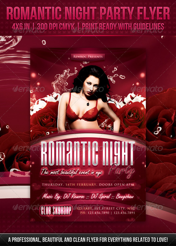 GraphicRiver Romantic Night Party Flyer 3863353