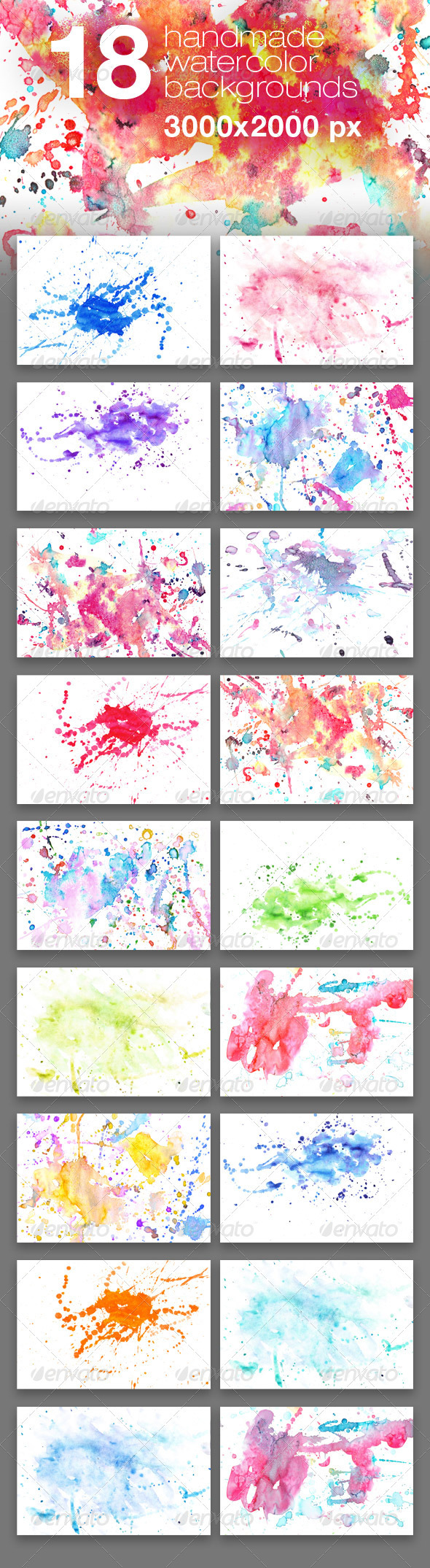 18 Handmade Watercolor Texture Backgrounds - Miscellaneous Textures
