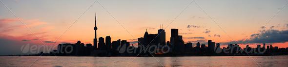 PhotoDune Toronto silhouette panorama 3969962