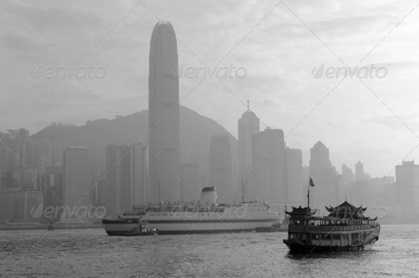 PhotoDune Hong Kong skyline with boats 3969984