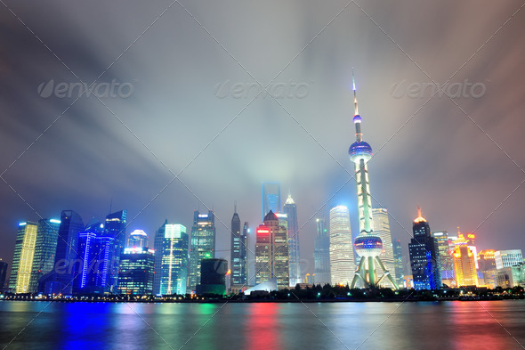 PhotoDune Shanghai skyline at night 3969989
