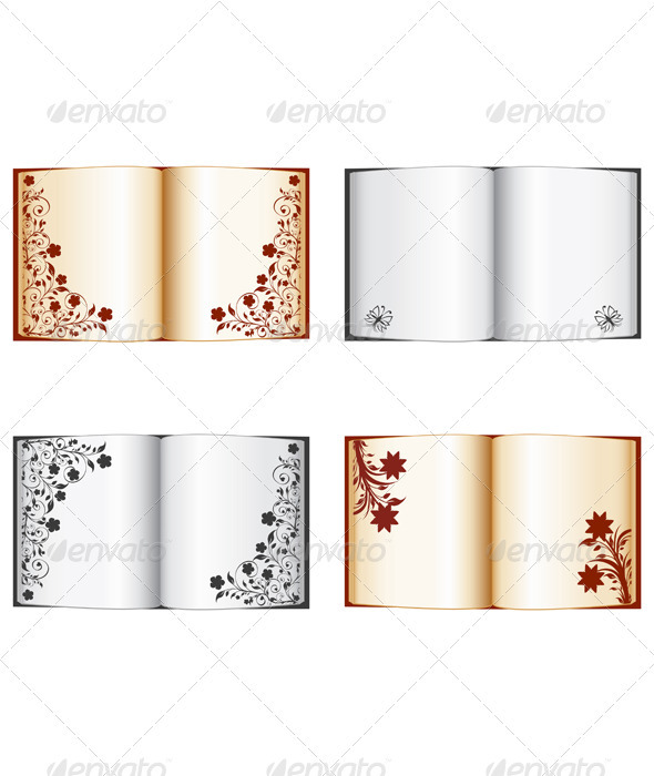 GraphicRiver Set of the Open Books with Floral Decorations 3967730