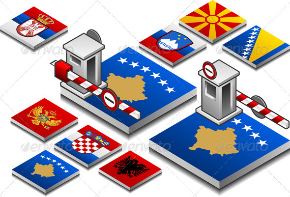 GraphicRiver Closed Customs on the Button Flag of Balcan 3967885