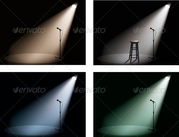 Night Club With Spotlight Microphone And Chair
