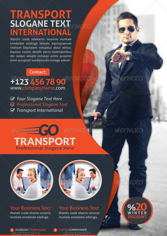 transport business flyer by grafilker