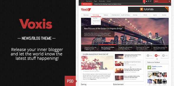 ThemeForest Voxis Magazine News PSD template 3924952
