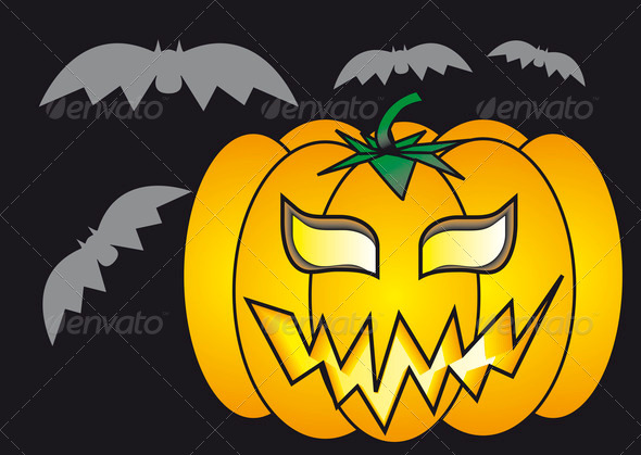 PhotoDune Pumpkin and bats 3986053