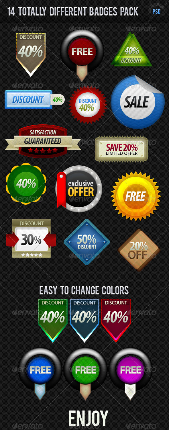GraphicRiver 14 Different Badges Pack 428409