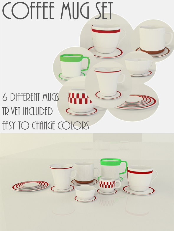 3DOcean Coffee Mug Cup Set with Trivets 3969562