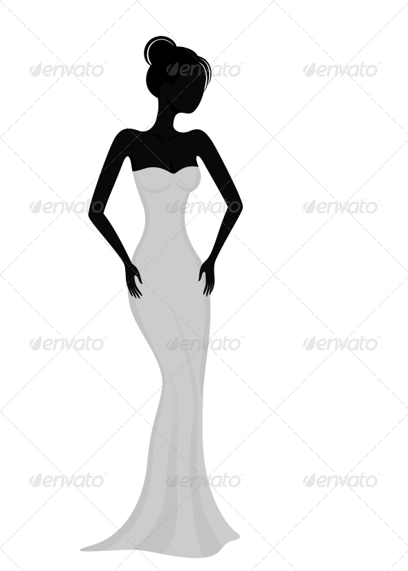 GraphicRiver Silhouette of a Girl in White Evening Dress 3969623