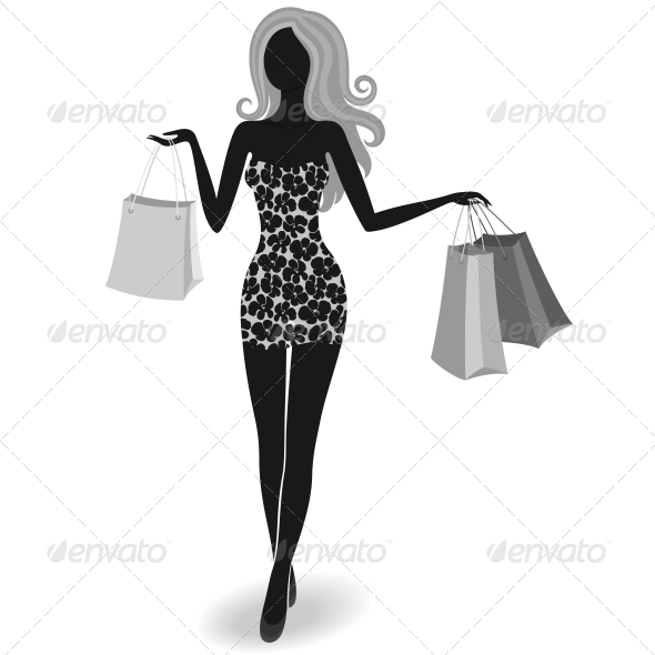 GraphicRiver Silhouette of a Shopping Girl 3969629
