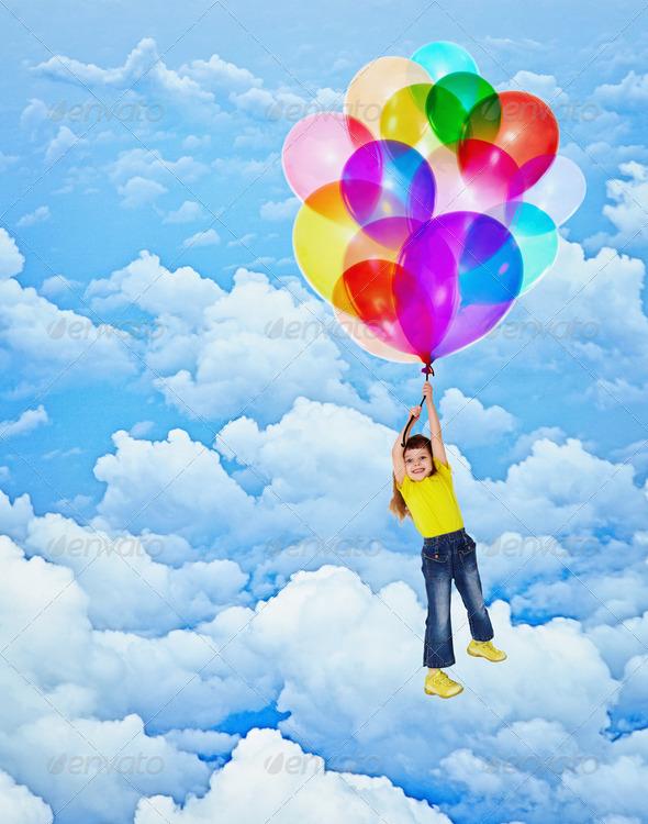 PhotoDune Cheerful girl flies with balloons 3969883